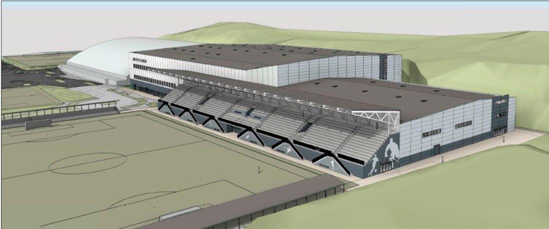 SLIK vil anlegget se ut fra nordsiden. Vestlandshallen lengst til venstre.